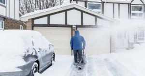 garage door in the winter